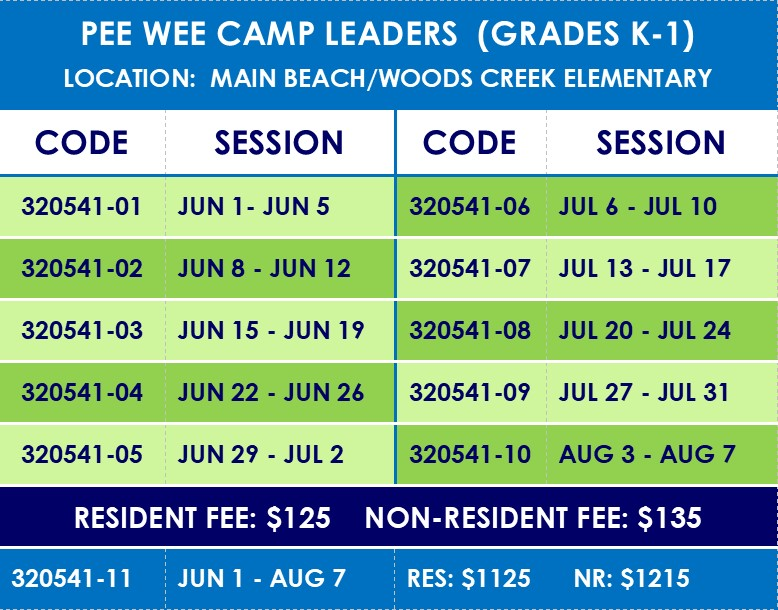----jr leaders pee wee camp sessions and codes
