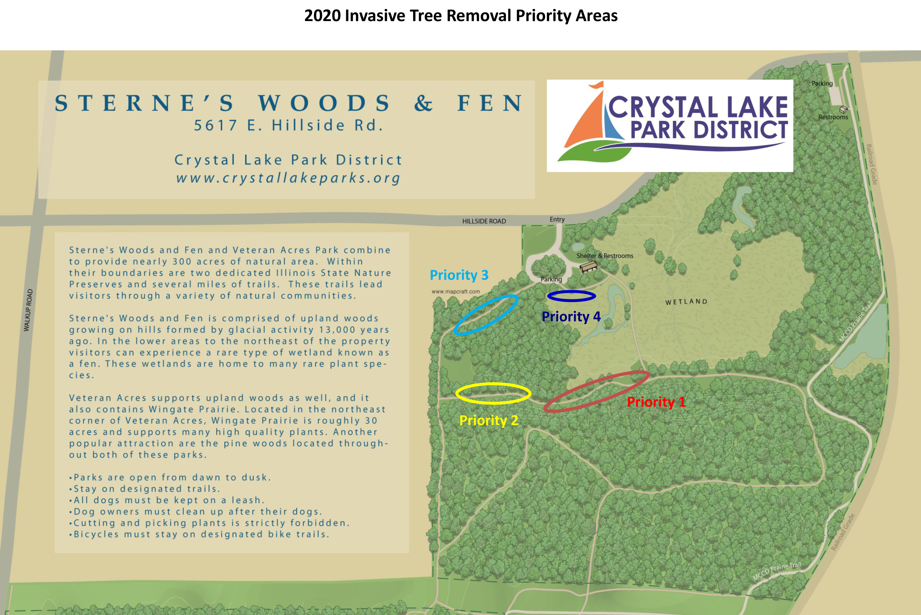 map of sternes woods and fen detailing invasive tree removal priority areas
